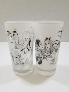 Vintage Al Hirschfeld Movieland Glasses_Set of 2_SEE ITEM DESCIPTION_WEAR