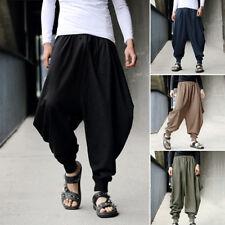 Men Harem Baggy Pants Japanese Samurai Cotton Linen Loose Casual Boho Trousers