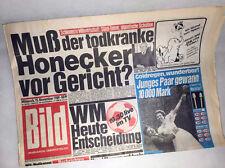 Bildzeitung vom 15.11.1989 * Honecker zum 27. 28. 29. 30. Geburtstag