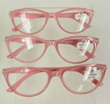NEW 3 Pairs of Versona Pink Clear Reading Glasses +2.50 Readers Designer 3 Pack