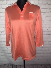 Peter Millar Polo Shirt Women's Medium Luxury Cotton Golf Solid Coral Top