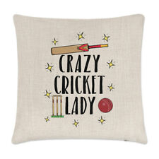 Crazy Cricket Lady Linen Cushion Cover Pillow - Funny Sport