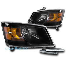 08-10 DODGE GRAND CARAVAN BLACK HEADLIGHTS LAMP W/DRL LED SIGNAL LEFT+RIGHT PAIR