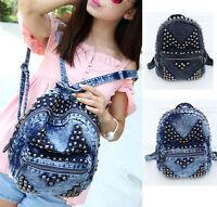 New Punk Style Women's Denim Fabric Jean Backpack Studs Zip Fashion School Bag