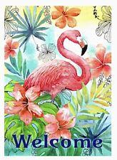 Welcome Flamingo Tropical Floral Flower Pool Fun Mini Window Garden Yard Flag Nw