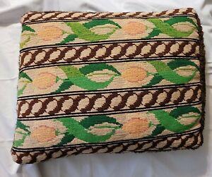 "VTG Needlepoint Handmade Pillow Tulips Brown Fur Backed 16""x13"""