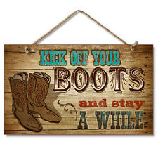 Western Lodge Cabin Decor Kick Off Your Boots  Wood Sign W/ Braided Rope Cord