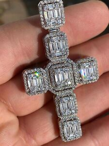 Men's Real Solid 925 Silver Mens Large Iced Baguette Diamond Cross Necklace 2""