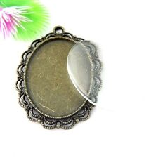 39073 Antique Bronze Alloy Oval  Cameo Cabochon Setting inner 40*30mm 4sets