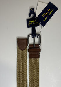 Polo Ralph Lauren Tan Gatsby Braided Stretch Cotton Leather Belt Med 36-38 NWT