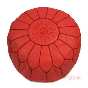 MOROCCAN POUFS Leather Luxury Ottomans Footstools White Unstuffed Best Selling