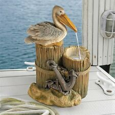 Pelican's Seashore Roost Design Toscano Sculptural Fountain With LED Light Kit