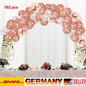 182Pcs Macaron Rosa Luftballons + Ballonbogen Kit Set Hochzeit Party Girlande