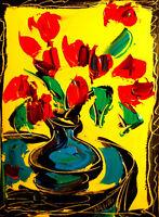 Flowers  ARTWORK  FINE ART painting  Modern  Original Oil Abstract CANVAS