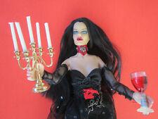 "OOAK GOTH VAMPIRE 12"" FASHION DOLL w/ candelabra & glass of wine  - Halloween"