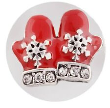 Silver Red Christmas Gloves Snowflake Rhinestone 20mm Charm For Ginger Snaps