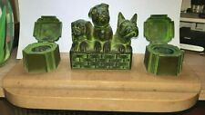 Vintage French art deco double inkwell  - pen rest  marble base 3 dogs feature