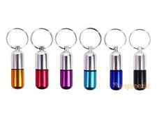 Waterproof 6pcs Aluminum Pill Box Case Bottle Drug Holder Keychain Container USA