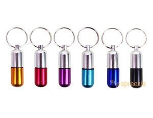 Waterproof 6pcs Aluminum Pill Box Case Bottle Drug Holder Keychain Container USA