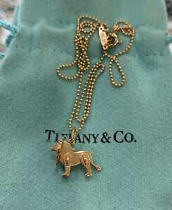 """Tiffany & Co 18K Rose Gold Save the Wild Mini Lion Charm Necklace 16"""""""