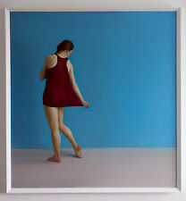 Original Framed Oil Painting Female Girl Dancer Realist Maroon Shift artwork