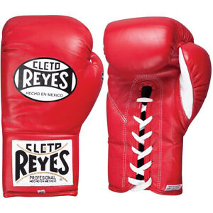 Cleto Reyes Official Lace Up Competition Boxing Gloves - Red