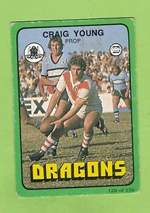 1978 ST GEORGE DRAGONS  SCANLENS RUGBY LEAGUE CARD #139 CRAIG YOUNG