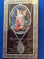 The GUARDIAN ANGEL Pewter Necklace Pendant Saint Medal Stainless Steel Protect