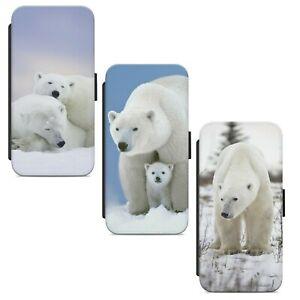Polar White Bear WALLET FLIP PHONE CASE COVER