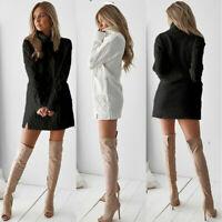 Mini Turtleneck Long Sleeve Sweater Jumper Pullover Dress Knitted Womens