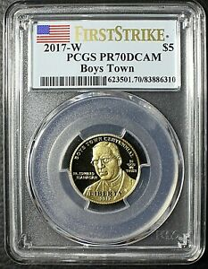 2017 W PCGS PR70DCAM $5 Gold Boys Town Commemorative Proof and COA and OGP