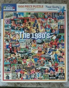"""THE 1980's, WHITE MOUNTAIN 1000 PIECE JIGSAW COLLAGE PUZZLE 24"""" x 30"""""""