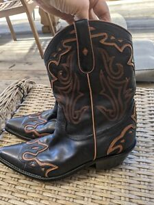 Coldwater Creek Inlay Cowboy Western Boots Coldwater Creek Pointed Toe 11M black