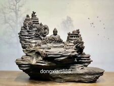 Chinese ebony gloomy wood Dunhuang Caves Shakyamuni rulai Buddha sit sculpture