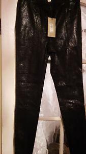 River Island Snake Stretch Leggings Real Leather Front Cotton Elastane Back UK8