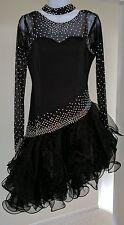 BALLROOM LATIN RHYTHM COMPETITION DANCE DRESS SWAROVSKI CRYSTALS M/L BLACK