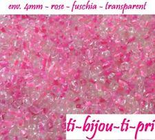 MIX de 500 PERLES rocaille VERRE ROSE + FUSCHIA 4mm 6/0 création bijoux