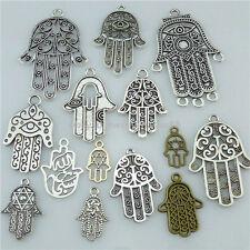 14PCS MIX Alloy Faith Religious Hand of Fatima Hamesh Hand Hamsa Hand Pendant
