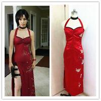 Resident Evil: Retribution Ada Wong Cosplay Costume Dress Red Cheongsam Sexy