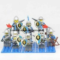 8 Pcs MinifigureS Medieval Castle Kingdoms Blue Lion Knight Rider Army Lego MOC