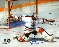 Grant Fuhr Autographed Edmonton Oilers Big Game Save 8X10 Photo Inscribed HOF 03