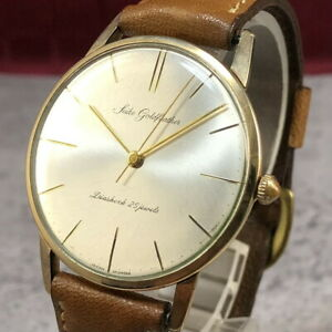 Vintage SEIKO Goldfeather 14K GOLD FIELD Hand-Winding 25Jewels Mens Watch #392