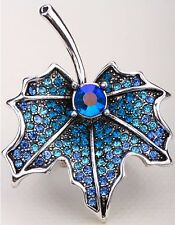 Maple Leaf Flower Stretch Ring Crystal Rhinestone Bling Jewelry Blue RF09