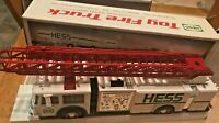 1989 NEW HESS Oil Co Toy Fire Truck with Dual Sound Siren, Lights, Bank - Tested