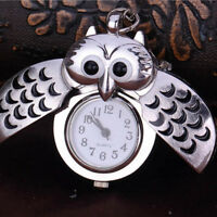 Eulenuhr Schlüssel Anhänger-Kette Uhr Taschenuhr Eule Quarzuhr Owl Necklace F8Z2