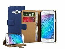 BLUE Wallet Leather Case Cover For Samsung Galaxy J1 Duos (2016) + 2 protectors