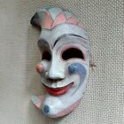 """RARE Antique Handmade Carved Wooden Joker Jester Clown Mask ฺWood Wall Art 11.5"""""""