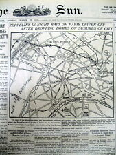 1915 WW I newspaper w Map of early GERMAN AIR RAID on PARIS France by Zeppelins