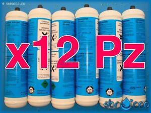 12 Bombola gas Co2 600gr E290 monouso gasatore acqua frizzante birra valv. 11x1