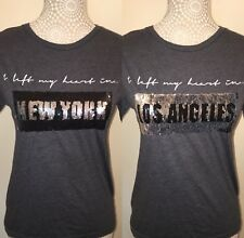 Womens Size 10 Grey Reversible Sequin Top 50%% Cotton New York/ Los Angeles